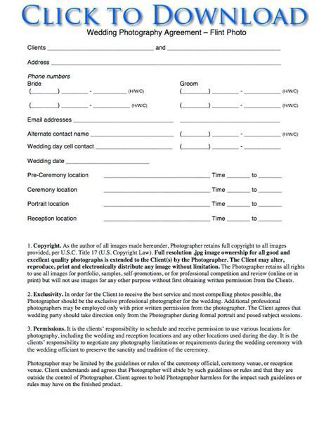 Free Wedding Photography Contract Forms   Flint Photo