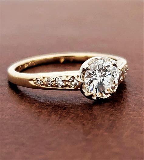 Vintage Diamond Engagement Ring 18K Yellow Gold 1/2ct F