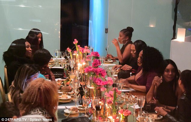 Gathering: The four-time Olympic gold medalist, 36, was spotted with her sister Venus, 37, best friend Ciara, 32, and TV presenter Lala Anthony, 38, during the bash