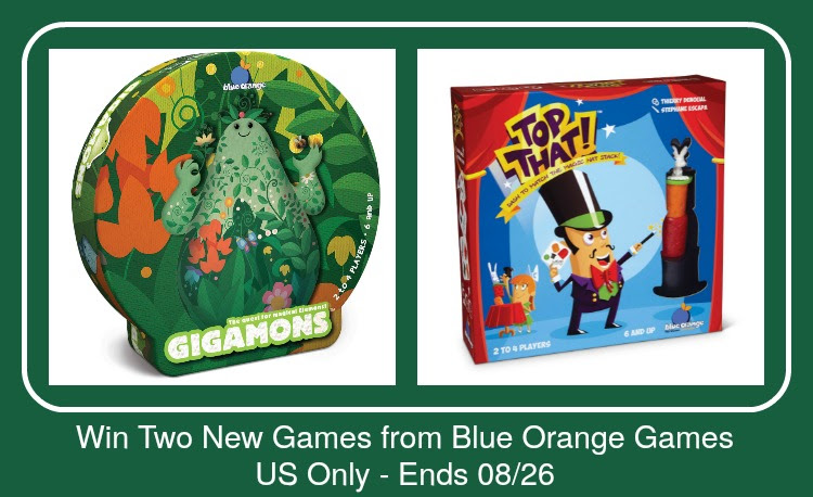 Blue Orange Games Giveaway. Ends 8/26