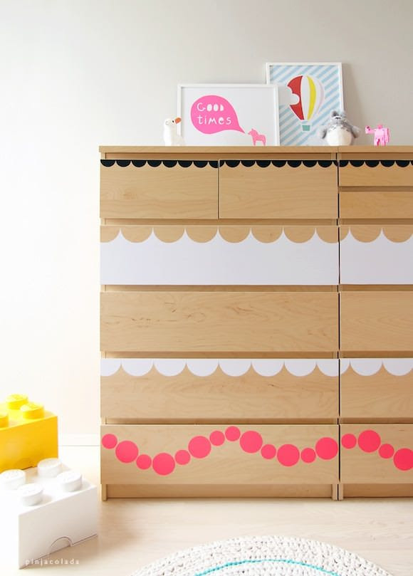 IKEA Hacks for Kids' Rooms: a MALM dresser got dressed up with fun shape stickers