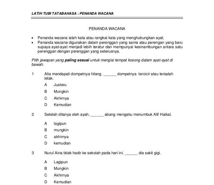 Contoh Soalan Wacana Bahasa Melayu Di Joglo