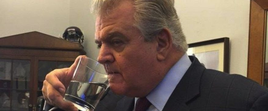 Representative Bob Brady, D-Pa., drinks out of the glass that Pope Francis drank out of during his speech to Congress Sept. 25, 2015. (ABC News, courtesy of Rep. Bob Brady)