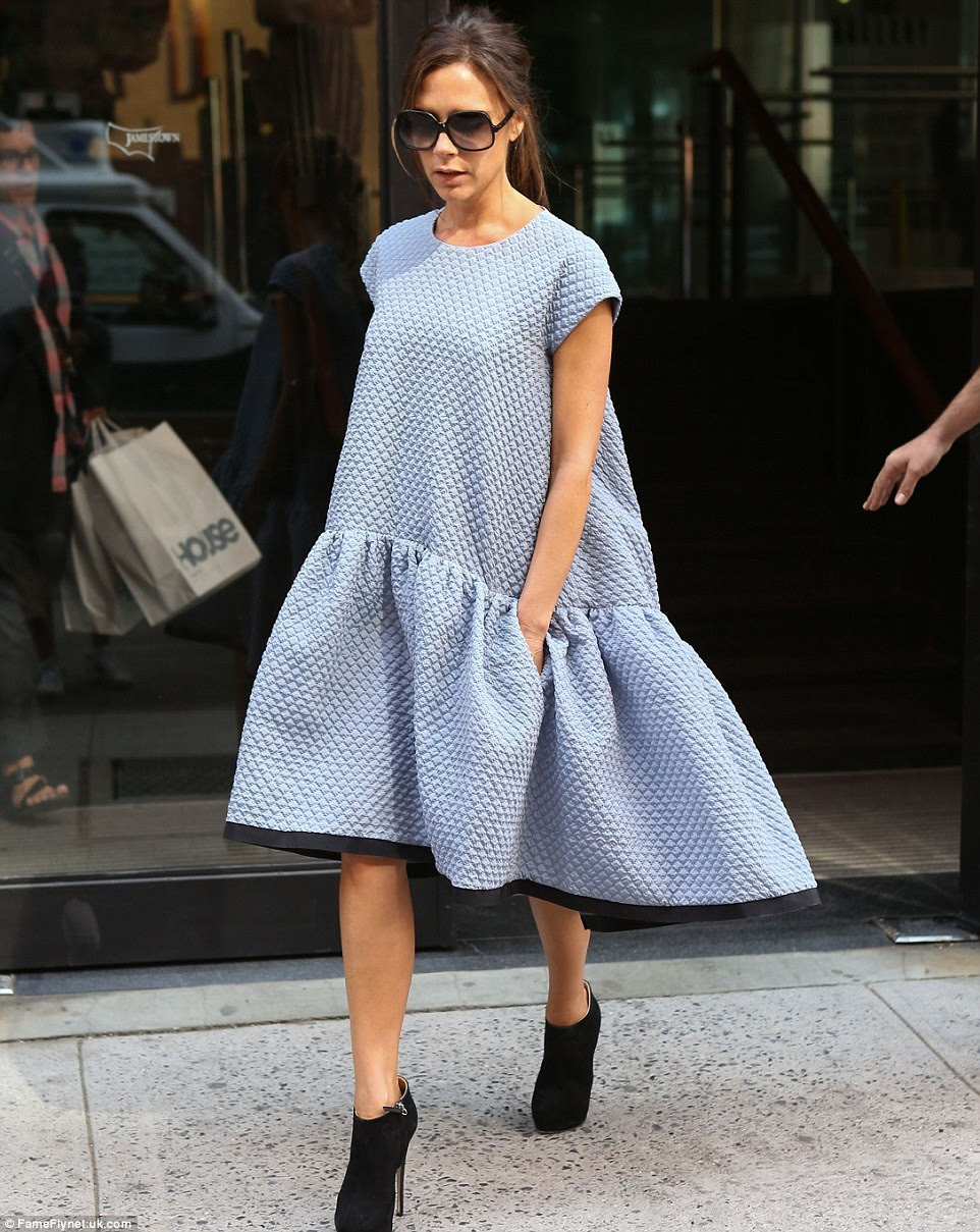 Wearing one of her own designs in 2013, she looks oddly like a giant teabag ¿ though this shapeless dropwaister retailed at £855. Gulp!