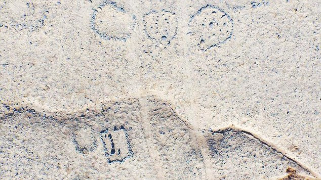 The mysterious collection of circles and squares have been filmed from above using a drone by a local tourism association, in an attempt to further understand the structures and their origins. A aerial shot is shown. If they were used as sacrificial sites, the type of sacrifices is not known