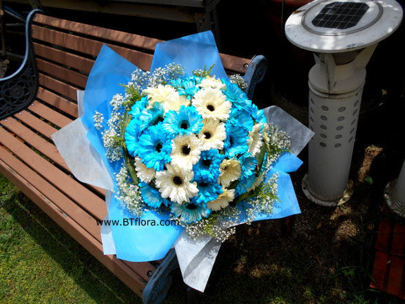 Blue White Gerbera Bouquet Fbq1304 Btflorist