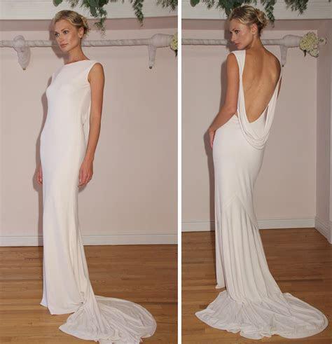 2012 wedding dress open back simple bridal style   OneWed.com