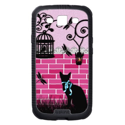 Whimsical cute cat & bird cage on pink vector wall galaxy SIII case