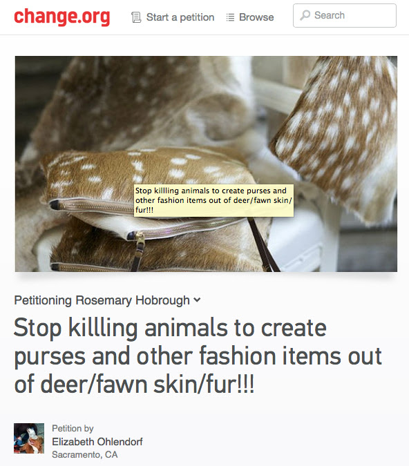 Update: TheirTurn  Subscriber Creates Change.org Petition to Protest Deer Fur Designer