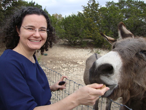 Austin:  me (BlossomKyle) feeding the donkeys at the home of designer Juliette Kimes (JKimes)  in the hill country