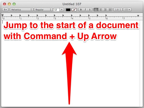 Keystroke for the stat of a document in Mac OS X