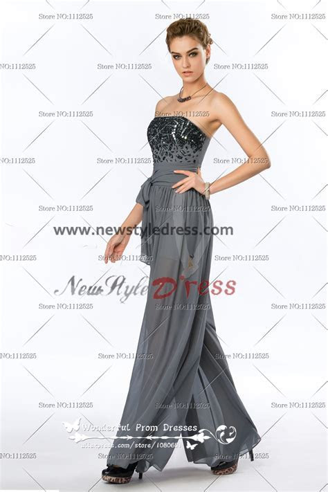 Strapless Sequins Fashion charcoal grey Women's Jumpsuits