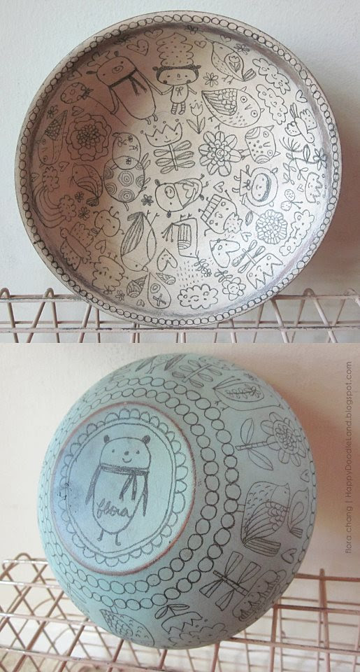 wooden doodle bowl (sold during local art fair)