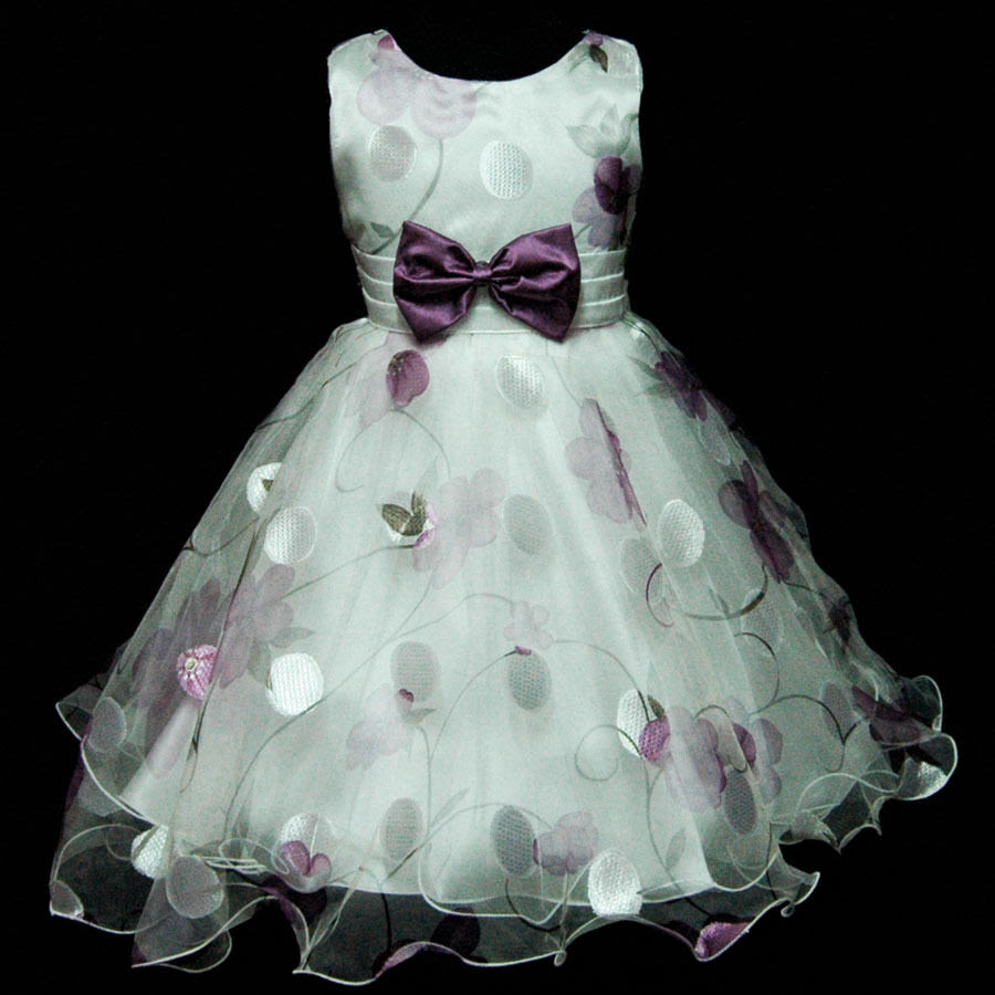 capu3211 easter purple wedding flower party girls dresses