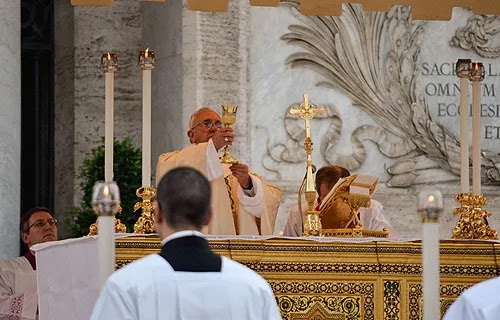 Pope Francis says Mass at the Basilica of St. John Lateran, June 19, 2014. Credit: Daniel Ibanez/CNA.