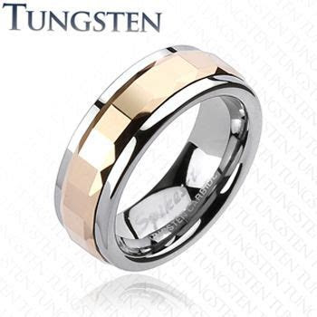 Spikes Mens Tungsten Carbide Rose Gold IP Square Faceted