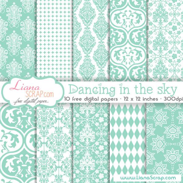 Free digital paper pack – Dancing In The Sky Set