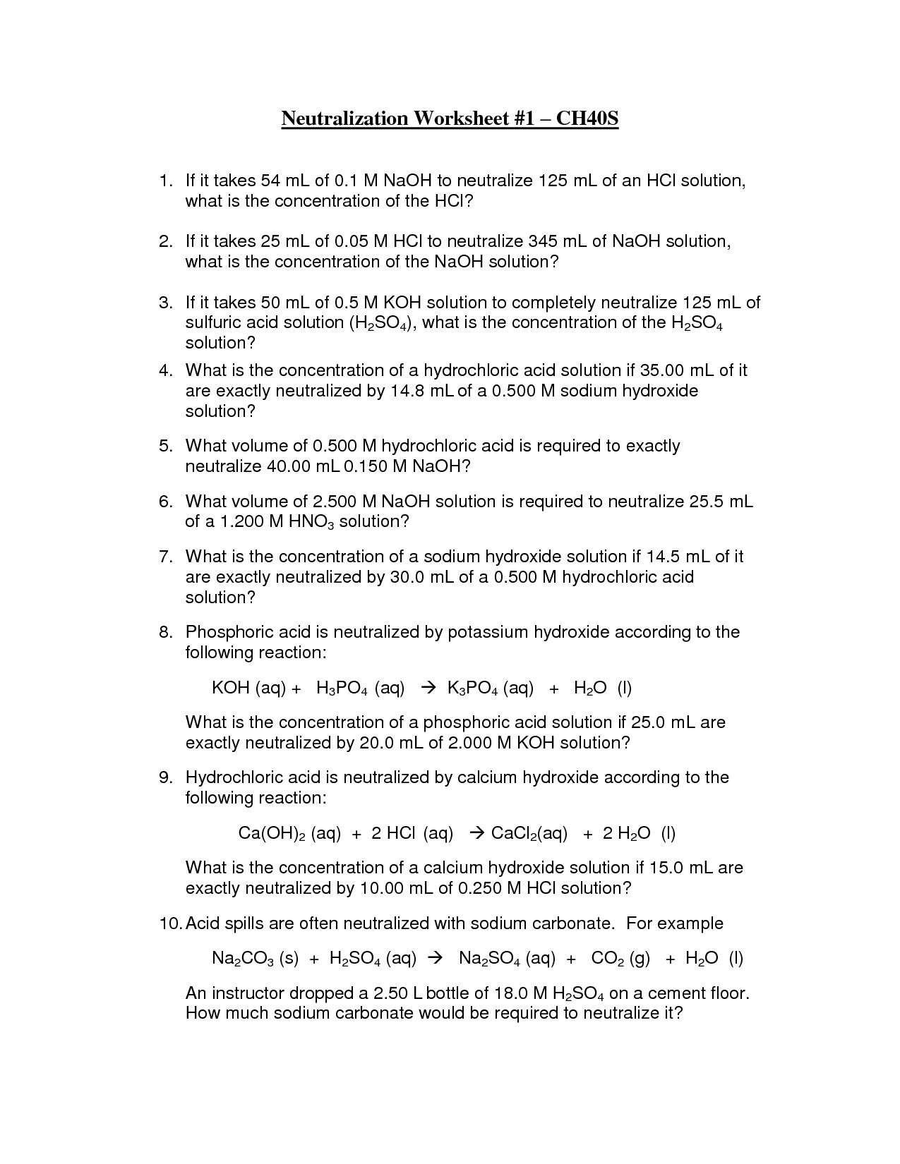 11 Best Images of Acid And Base Reactions Worksheet  Acids and Bases Worksheet Answers, Acids