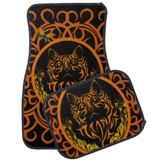 tribal cat orange car mat