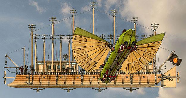 Dibujo de Jean Pierre Bouvet basado en el imaginari de Julio Verne y en las máquinas descritas en su obra