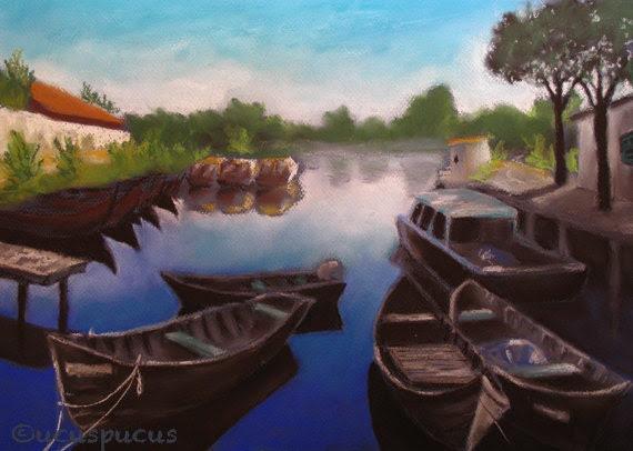 Art Print Fishing boats blue river Danube Delta - ucuspucus