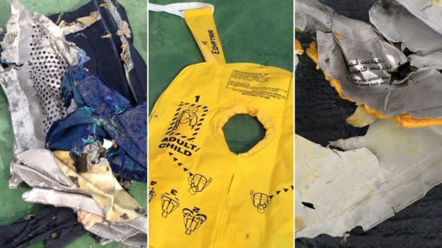 Debris from the crashed EgyptAir flight