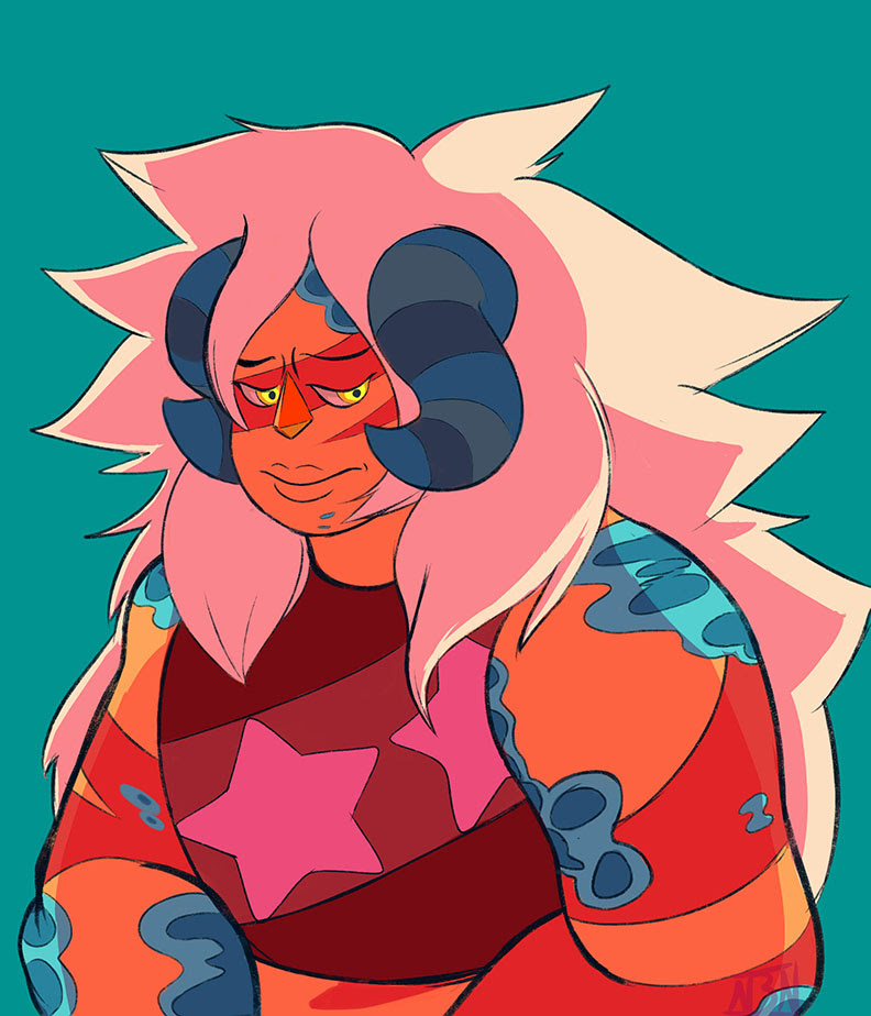 I want Jasper to uncorrupt slowly, I want her to learn that being strong isn't all about winning battles, and that losing them sometimes doesn't make one inherently weak.  Me and were talking ...