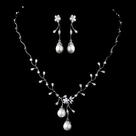 Diamond White Pearl and CZ Wedding Jewelry Set