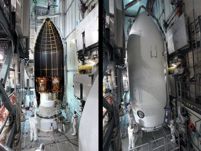 Before-and-after images of the GRAIL spacecraft being encapsulated by the Delta II rocket's payload fairing on August 24, 2011.