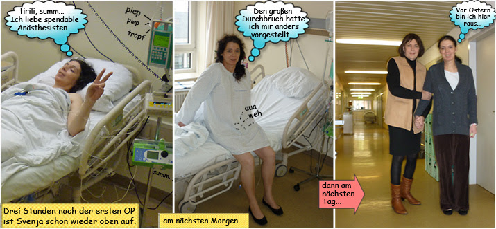 Svenja im Städtischen Krankenhaus Kiel mit Blinddarmdurchbruch