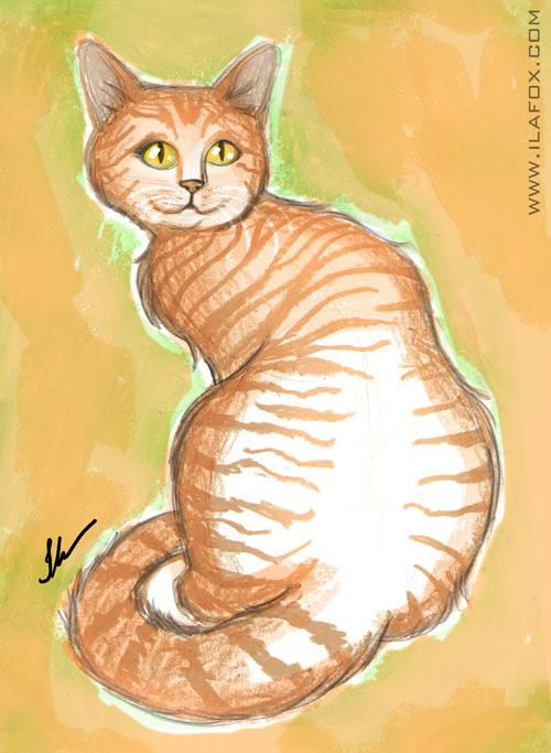 gato amarelo sentado aquarela, giz pastel oleoso