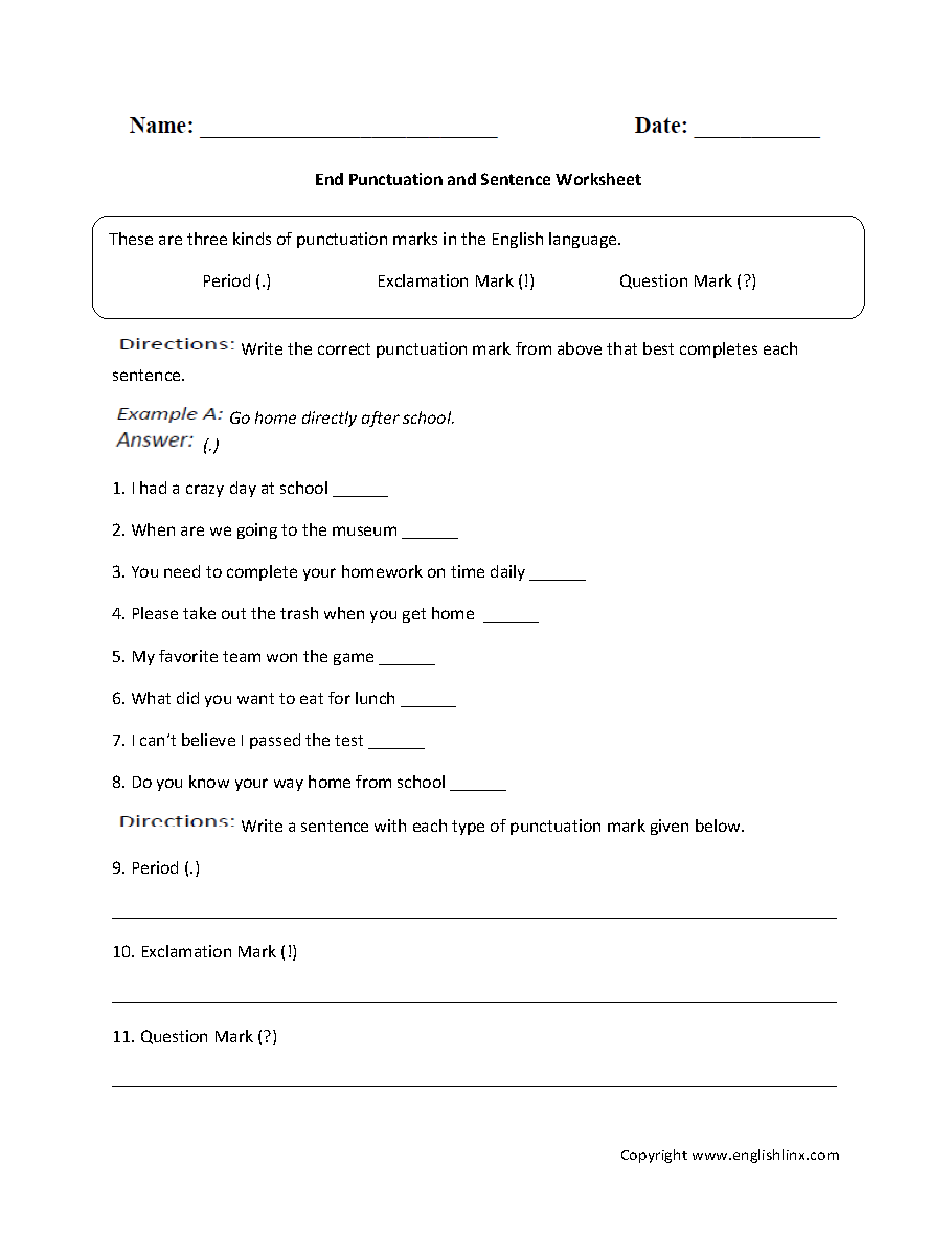 Englishlinx Com Punctuation Worksheets