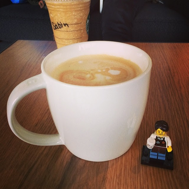 Larry the Barista helps me out with my latte. #legominifigures #legomovie