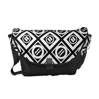 White Equal Sign Geometric Pattern on Black Courier Bag