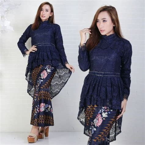 jual kebaya modern brokat silk navy setelan rok duyung