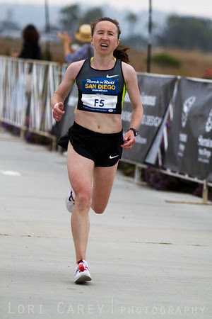 Silvia Skvortsova in the home stretch of the San Diego Rock and Roll Marathon, finished 4th in the Women's Elite division with a time of 2:23:10