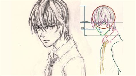 draw face light yagami  death note youtube