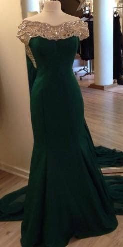 2019 Emerald Green Crystals Mermaid Prom Dresses with
