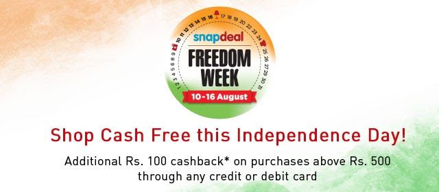 Shop for 500 or more at snapdeal and get ₹ 100 additional cashback