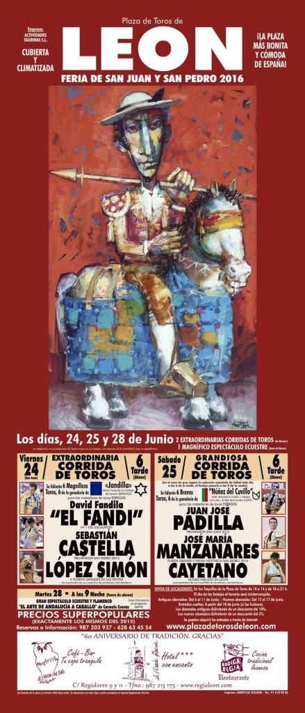cartel feria taurina de leon-plaza de toros de Leon 2016 (1)