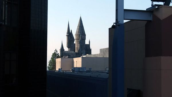 A snapshot of the Hogwarts Castle (of The Wizarding World of Harry Potter attraction at Universal Studios) as seen from Universal CityWalk in North Hollywood...on September 1, 2018.
