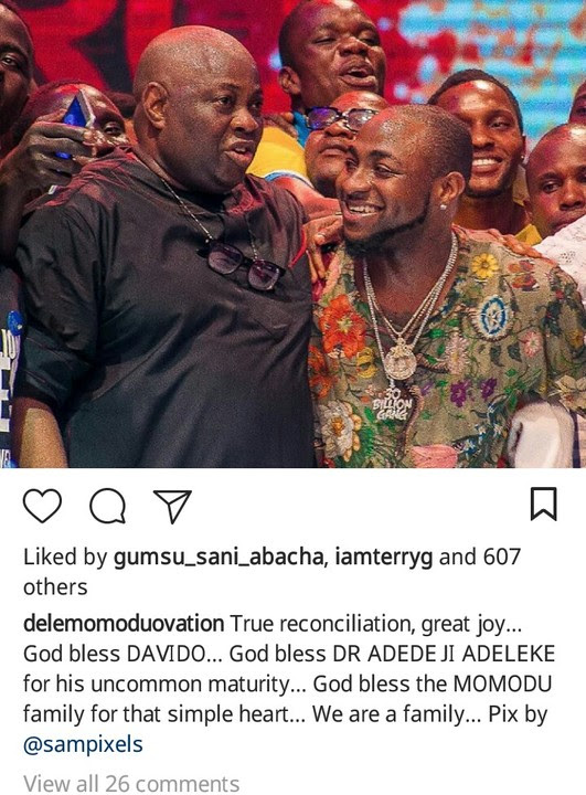 DAVIDO AND OVATION BOSS DELE MOMODU ENDS LONG TIME BEEF, RECONCILES