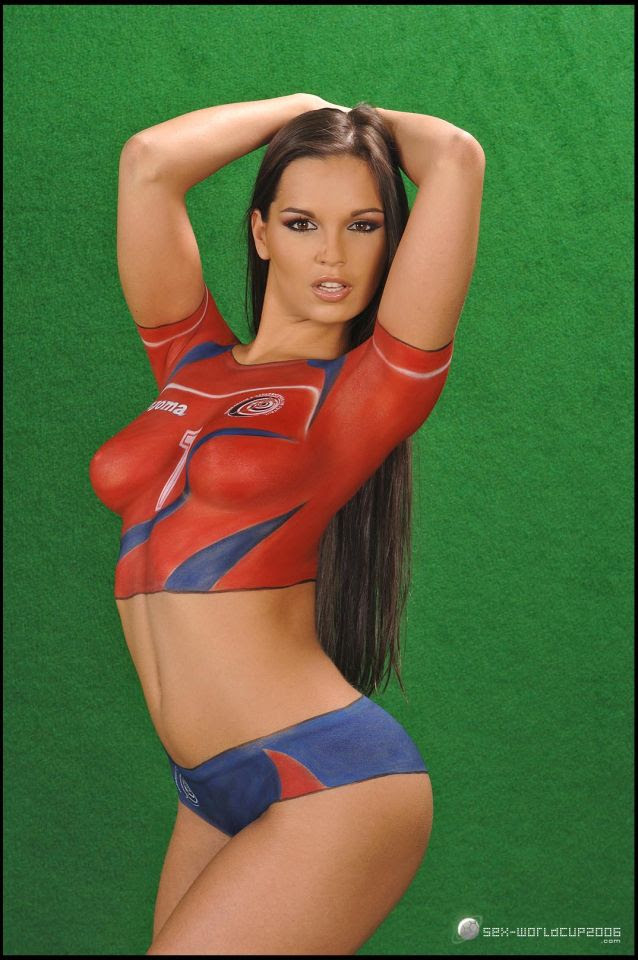 body painted soccer girl