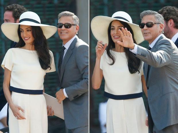 O ator americano George Clooney e a mulher, a advogada Amal Alamuddin, acenam ao chegar para o seu casamento civil, nesta segunda-feira (29), em Veneza, na Itália (Foto: Luca Bruno/AP)