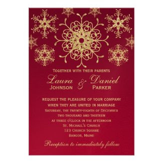 Red, Gold Glitter LOOK Snowflakes Wedding Invite