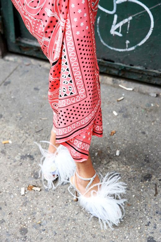 Le Fashion Blog Pink Printed Sarong White Feathered Shoes Via Man Repeller