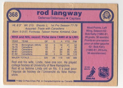 Rod Langway 8283 - back