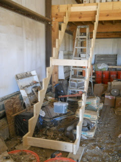 Barn Loft Stairs Stringer in Place