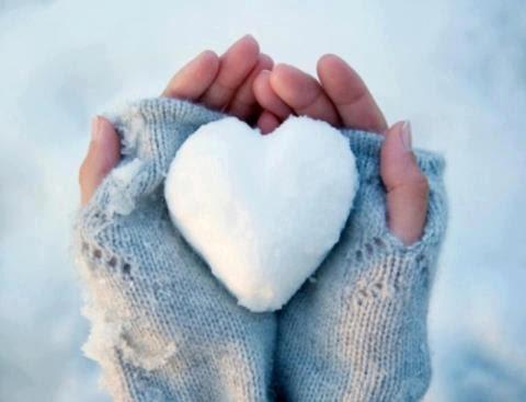 #neige #coeur #mitaines
