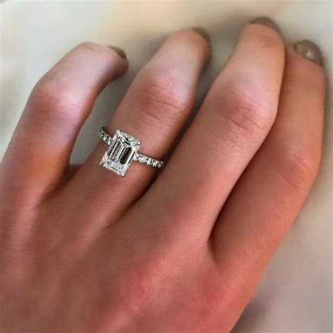 """ENGR03003"" Emerald Cut Solitaire Diamond Engagement Ring"